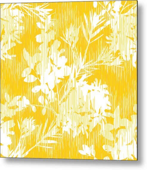 Pattern Metal Print featuring the digital art Botanical Silhouette Pattern Seamless by Stuckmotion