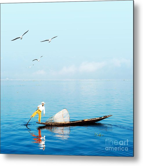 Canoe Metal Print featuring the photograph Burma Myanmar Inle Lake Traditional by Banana Republic Images