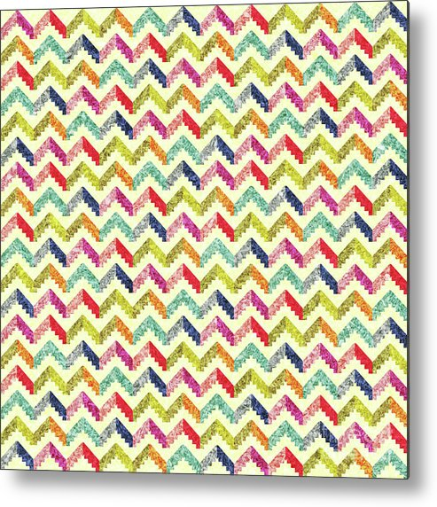 Zigzag Metal Print featuring the mixed media Chevron Multi Color Zigzag Pattern by Asad Ponir