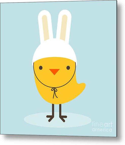 Small Metal Print featuring the digital art Chicken Rabbit by Gaba Duran