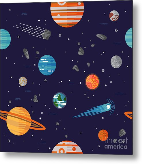 Big Metal Print featuring the digital art Cool Galaxy Planets And Stars Space by Mascha Tace