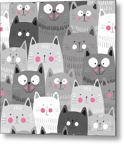 Love Metal Print featuring the digital art Cute Cats Colorful Seamless Pattern by Marianna Pashchuk