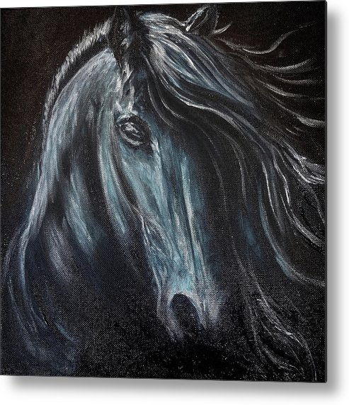 Metal Print featuring the painting Dark Horse by Michelle Pier