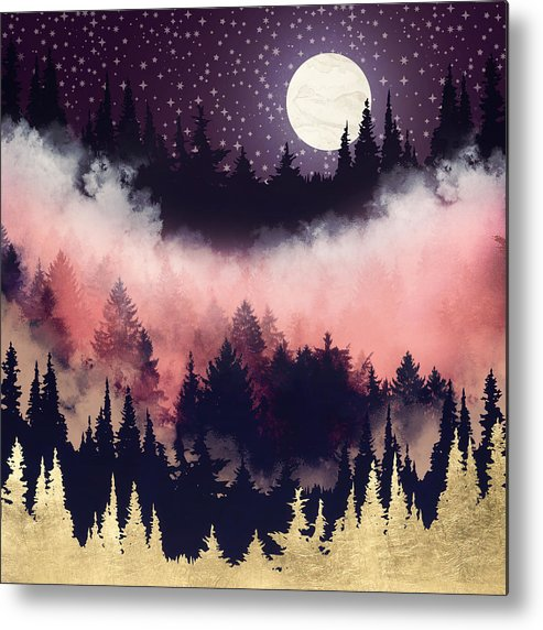 Forest Metal Print featuring the digital art Evening Glow by Spacefrog Designs