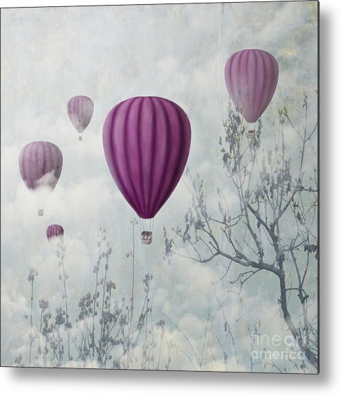 Symbol Metal Print featuring the digital art Fantasy Artistic Image Of Pink Hot Air by Hitdelight