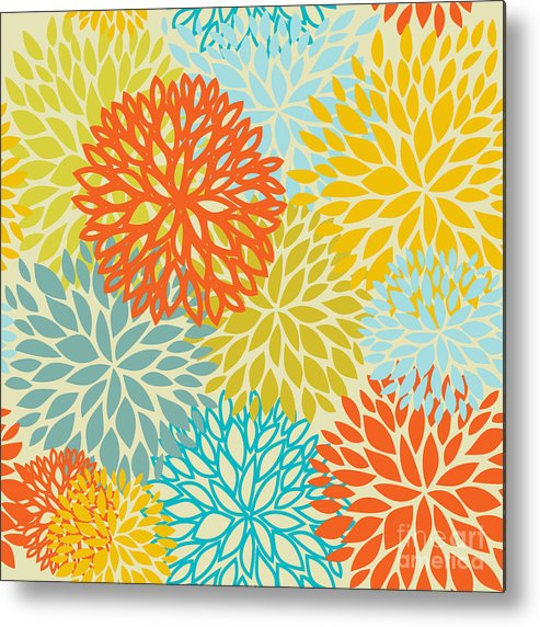 Seamlessly Metal Print featuring the digital art Floral Seamless Pattern by Mcherevan