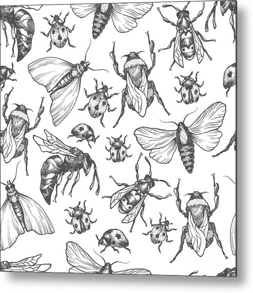 Bee Metal Print featuring the digital art Hand Drawn Vector Pattern With Insects by Olga Olmix