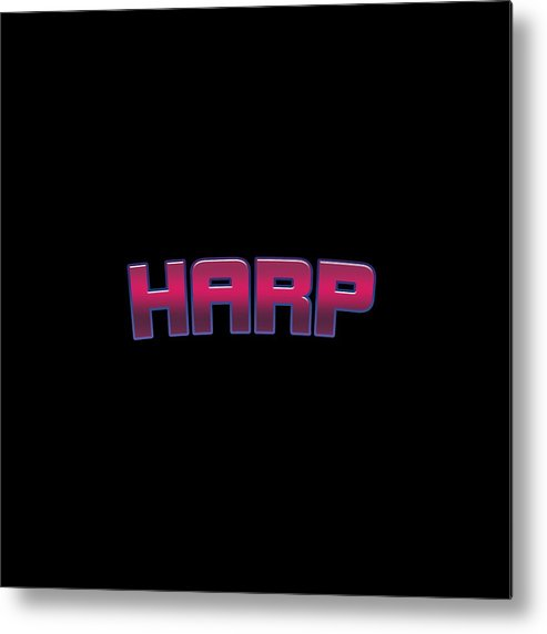 Harp Metal Print featuring the digital art Harp #harp by TintoDesigns