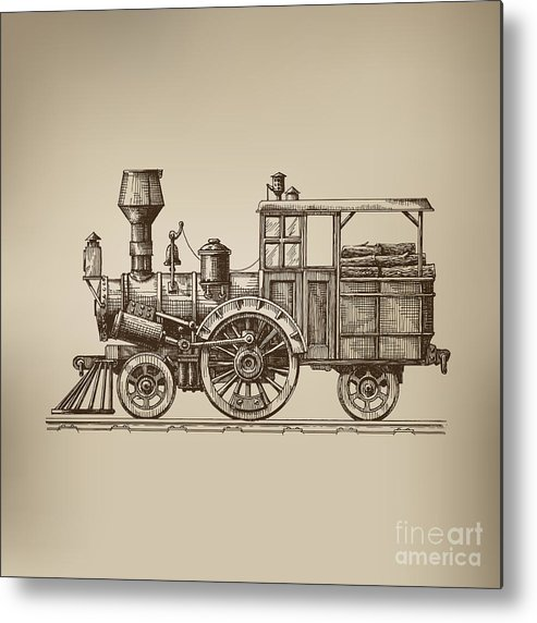 Small Metal Print featuring the digital art Locomotive. Vector Format by Ava Bitter