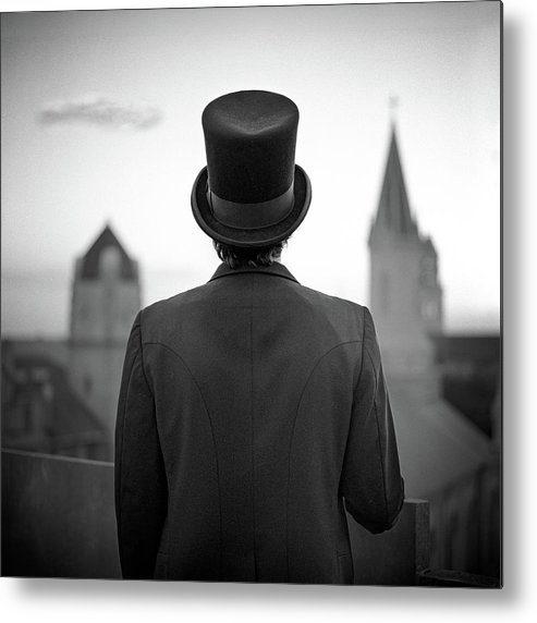 People Metal Print featuring the photograph Man Standing Front Of Cathedral by Eddie O'bryan