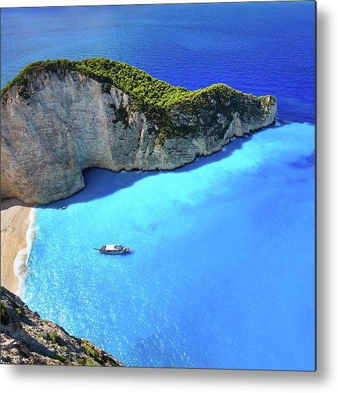 Extreme Terrain Metal Print featuring the photograph Navagio Beach, Zakynthos Island, Greece by Rusm