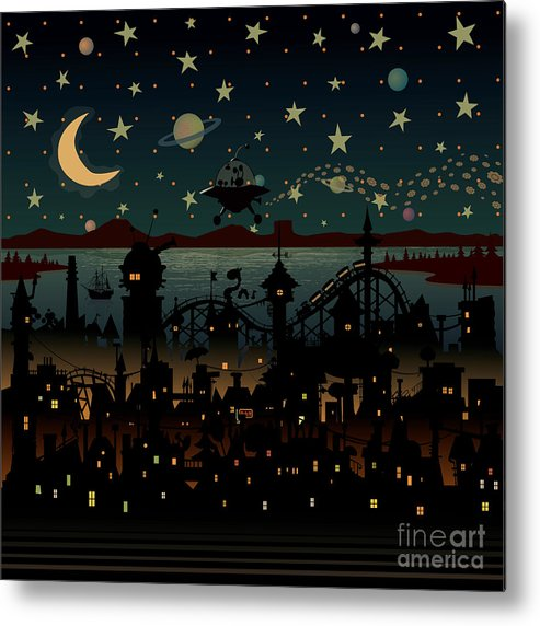 Chimney Metal Print featuring the digital art Night Scene Illustration With Ufo by Mangulica