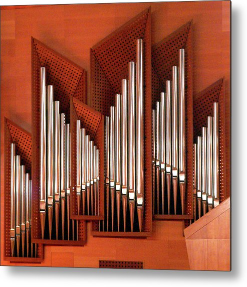 Orange Color Metal Print featuring the photograph Organ Of Bilbao Jauregia Euskalduna by Juanluisgx