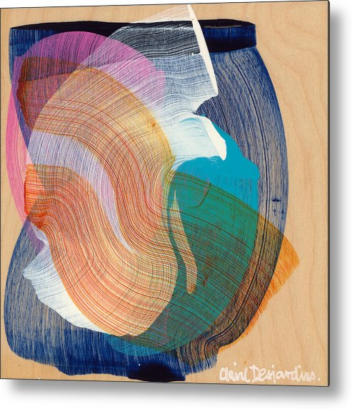 Abstract Metal Print featuring the painting Out Of The Blue 07 by Claire Desjardins