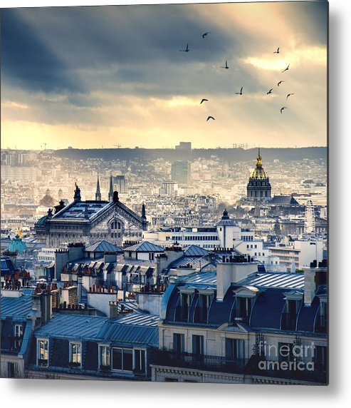 Beauty Metal Print featuring the photograph Paris Cityscape Taken From Montmartre by Im photo