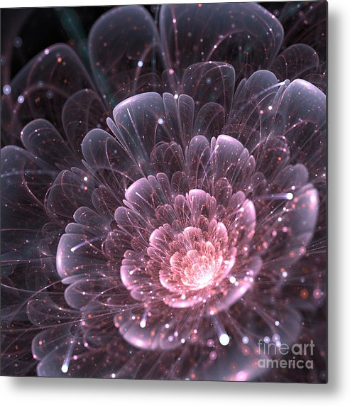 Delicate Metal Print featuring the digital art Pink Abstract Flower With Sparkles On by Anikakodydkova