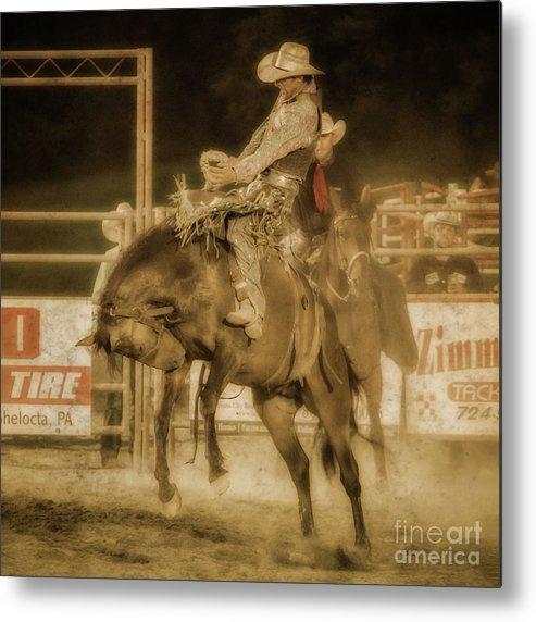 Rodeo Rider Bronco Busting Metal Print featuring the digital art Rodeo Rider Bronco Busting Sepia One by Randy Steele