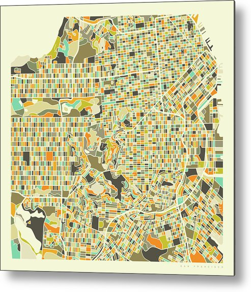 graphic relating to San Francisco Maps Printable named San Francisco Map 1 Metallic Print