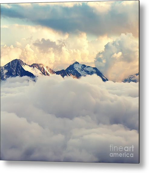 Beauty Metal Print featuring the photograph Scenic Alpine Landscape With Mountain by Evgeny Bakharev