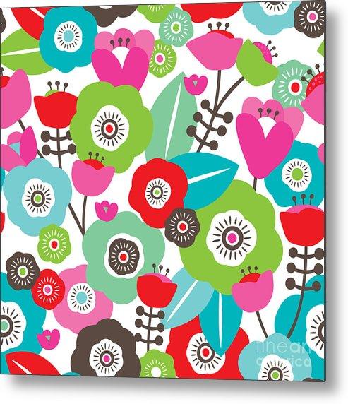 Pink Metal Print featuring the digital art Seamless Colorful Spring Flowers by Maaike Boot