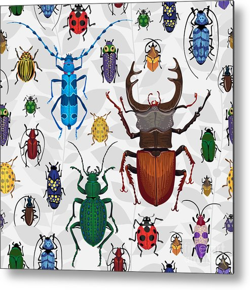 Antenna Metal Print featuring the digital art Seamless Pattern With Colorful Bugs by Anna Poguliaeva