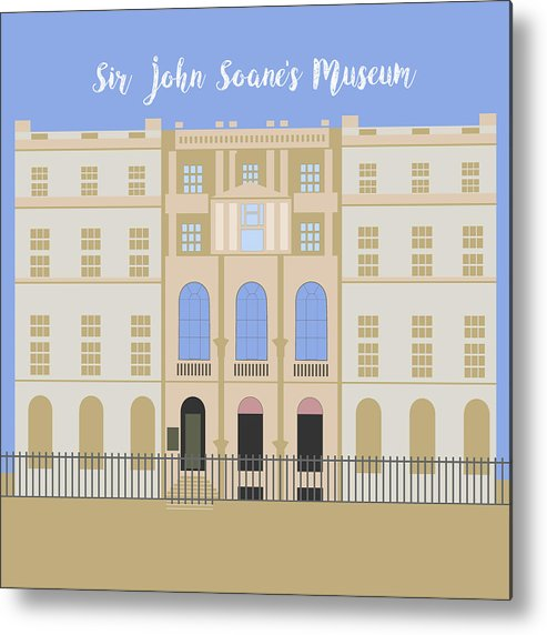 Blue Metal Print featuring the digital art Sir John Soane's Museum by Claire Huntley
