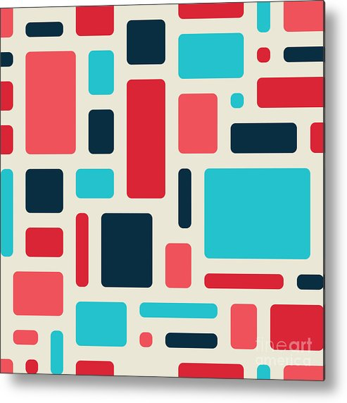 Space Metal Print featuring the digital art Soft Geometric Pattern In Retro by Vector Fx