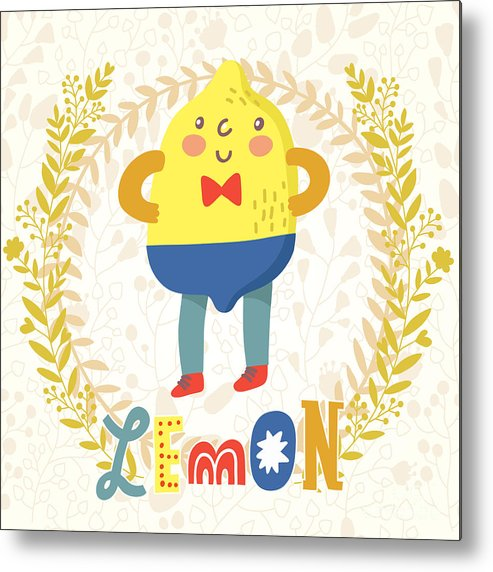 Salad Metal Print featuring the digital art Sour Lemon In Funny Cartoon Style by Smilewithjul