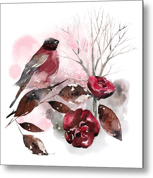 Bird Metal Print featuring the painting Spring Rests In The Heart Of Winter by Little Bunny Sunshine