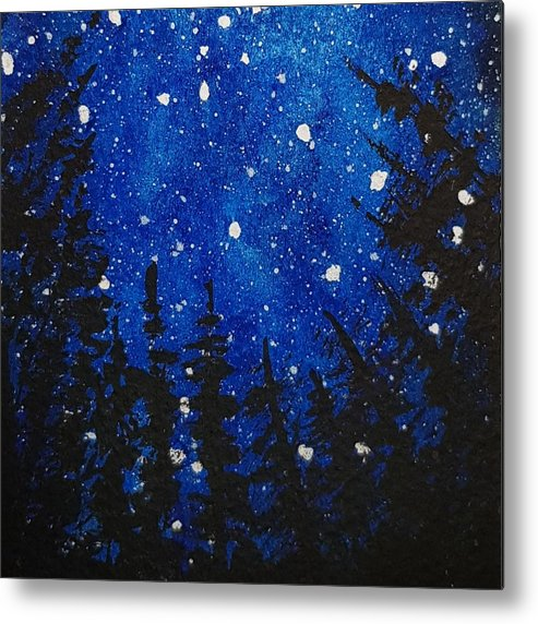 Acrylics Metal Print featuring the painting Starry Blue Sky by Paola Baroni