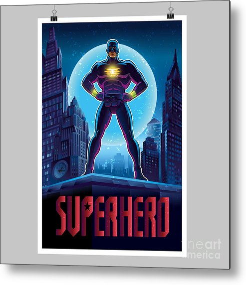 Muscular Metal Print featuring the digital art Superhero In Action. Superhero In The by Lana Stem