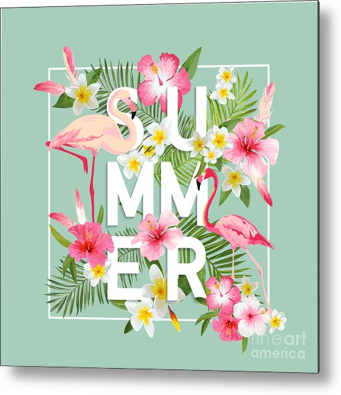 Birthday Metal Print featuring the digital art Tropical Flowers Background. Summer by Woodhouse