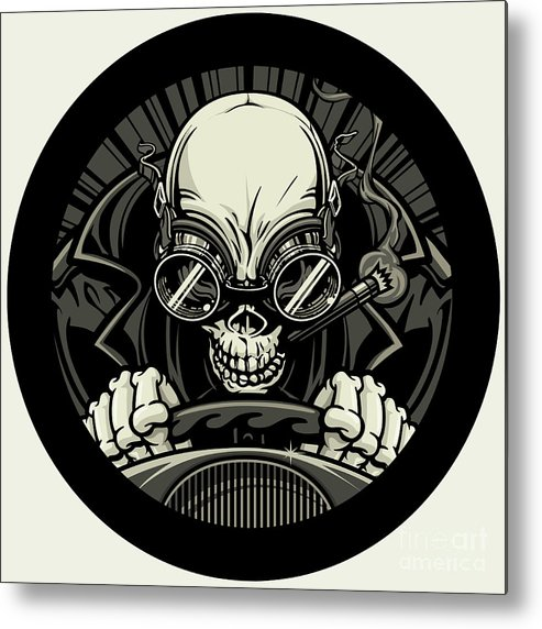 Circle Design Metal Print featuring the digital art Undead Stock Car Racer. Vector by Stockmambadotcom