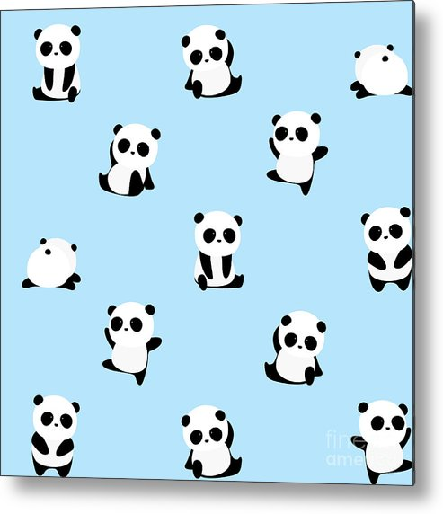 Panda Metal Print featuring the digital art Vector Pattern Panda Bear Pattern On by Junxu Lu