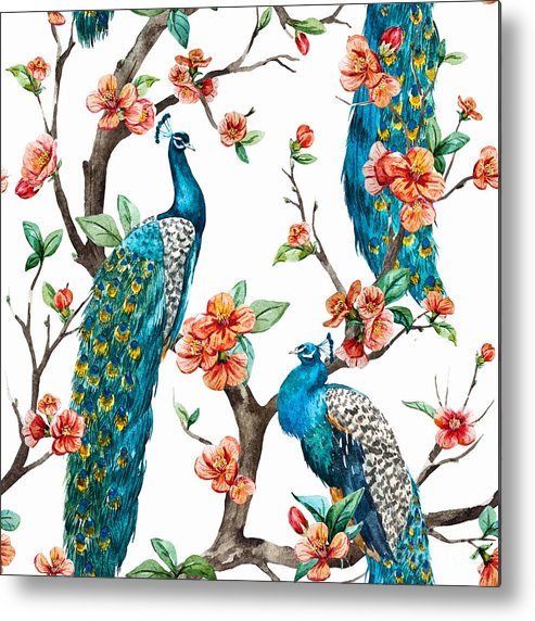Cherry Metal Print featuring the digital art Watercolor Pattern Peacock On A Tree by Anastasia Lembrik