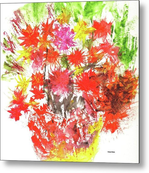 Abstract Flowers Metal Print featuring the painting Abstract Flowers by Hema Rana