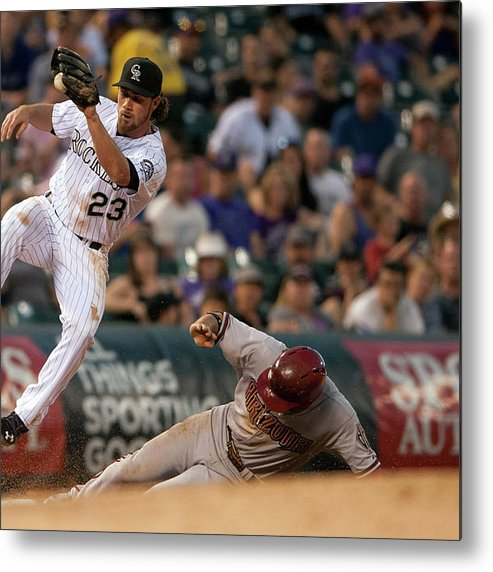 Catching Metal Print featuring the photograph Charlie Culberson And Martin Prado by Dustin Bradford