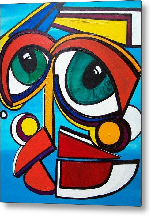 Abstract Metal Print featuring the painting She by Valerie Wolf