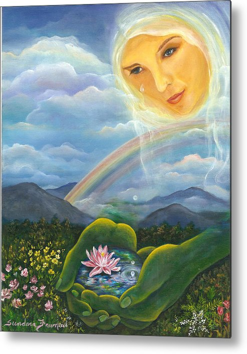 Lotus Metal Print featuring the painting Tears Of Devotion by Sundara Fawn
