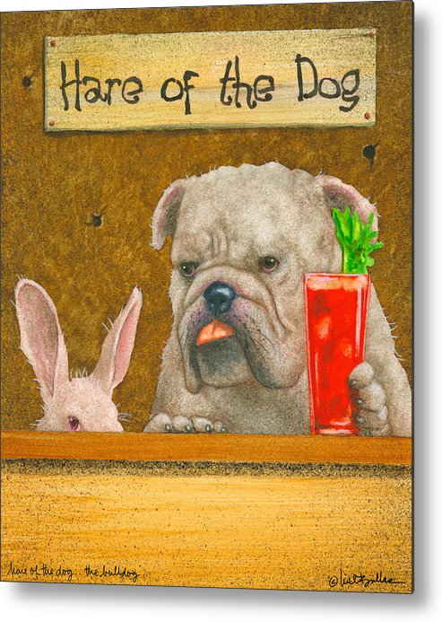 Will Bullas Metal Print featuring the painting Hare Of The Dog...the Bulldog... by Will Bullas