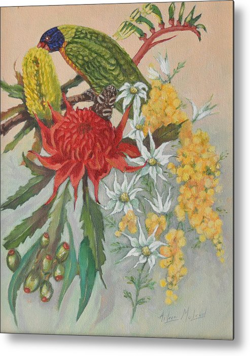 Bird Portraits Metal Print featuring the painting Lorikeet And Wildflowers by Aileen McLeod