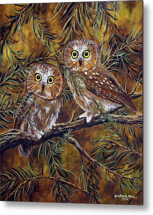 Owls Metal Print featuring the painting Branch Buddies by David G Paul