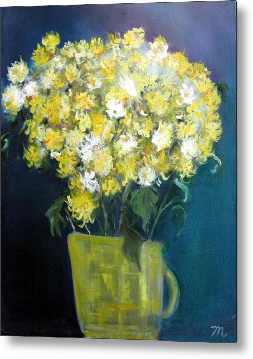 Chrysanthemums Metal Print featuring the painting Chrysanthemums by Michela Akers