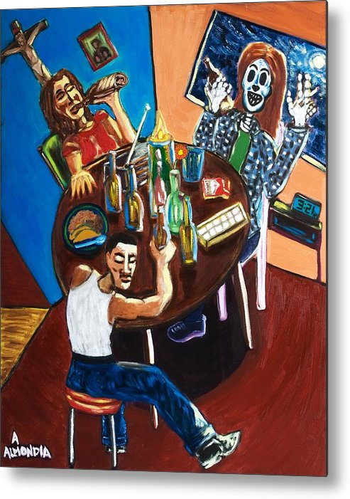 Day Of The Dead Metal Print featuring the painting Tears 'n Beers by Albert Almondia