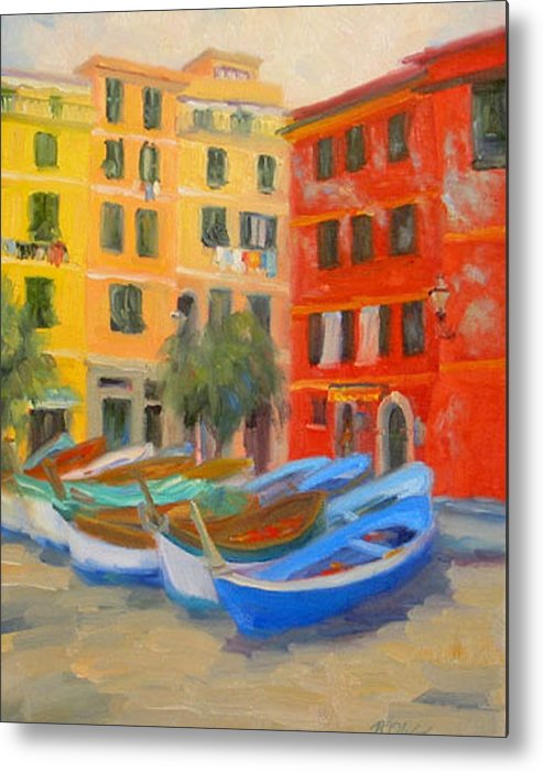 Italy Metal Print featuring the painting Vernazza Fleet by Bunny Oliver