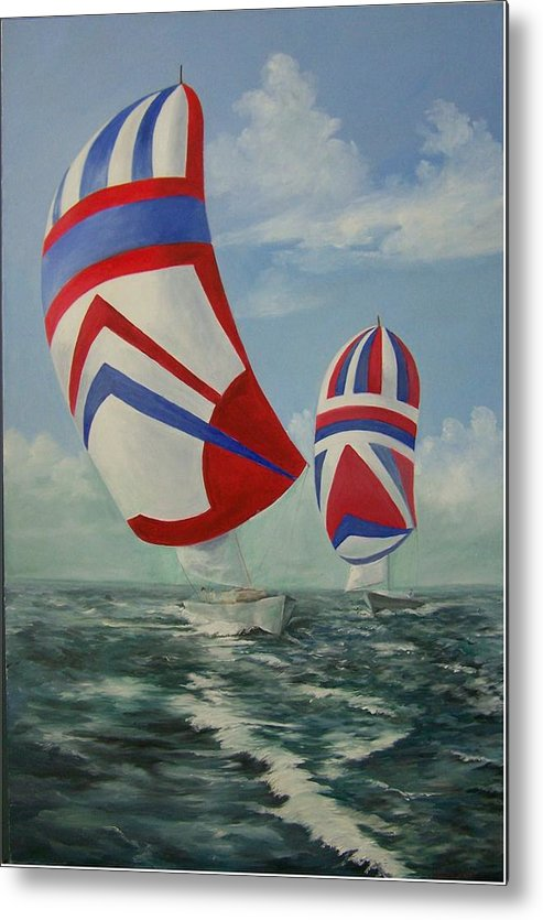 Sailing Ships Metal Print featuring the painting Flying The Colors by Wanda Dansereau