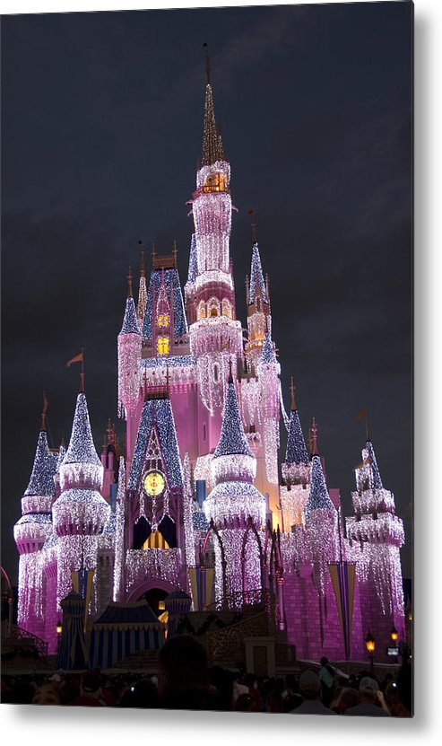 Walt Disney World Metal Print featuring the photograph Glittering Cinderella Castle by Charles Ridgway