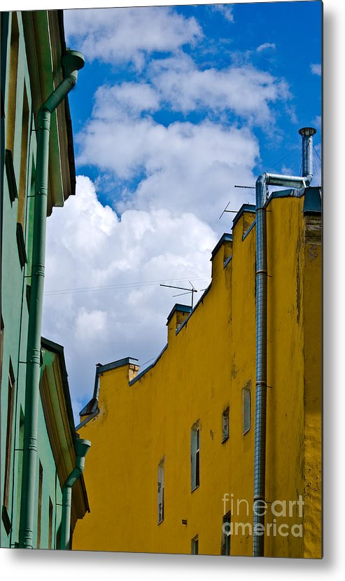 Yellow Metal Print featuring the photograph Has Opened Eyes And Has Looked In The City Sky... by Vadim Grabbe