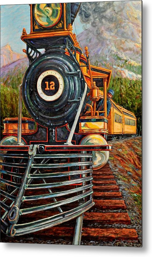 Train Metal Print featuring the painting No.12 In The Mountains by Gary Symington
