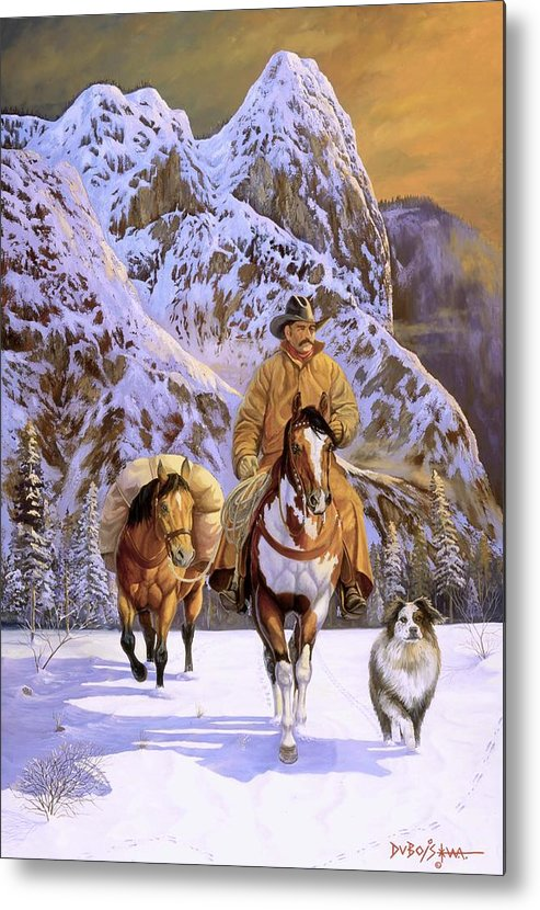 Cowboy Metal Print featuring the painting Pardners by Howard Dubois